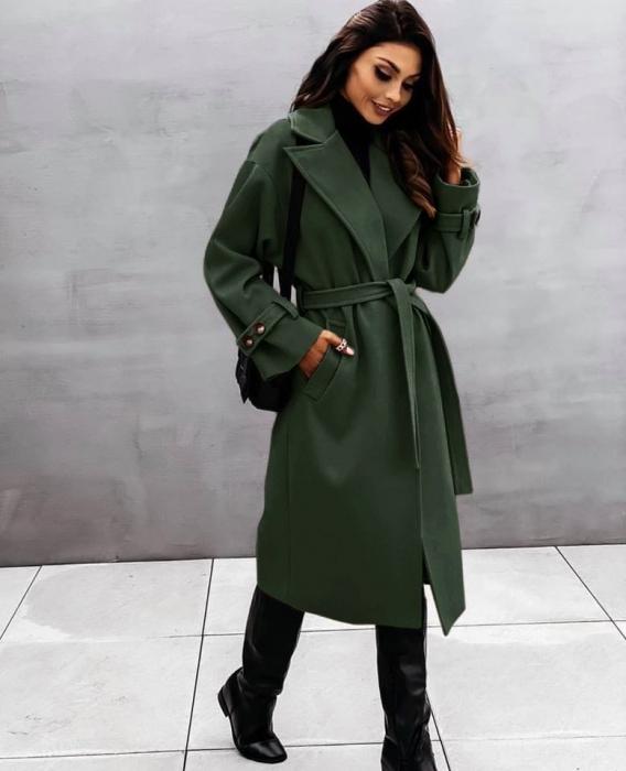 Palton dama clasic verde inchis [0]