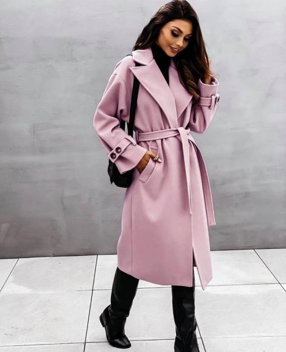 Palton dama clasic roz pudra [0]