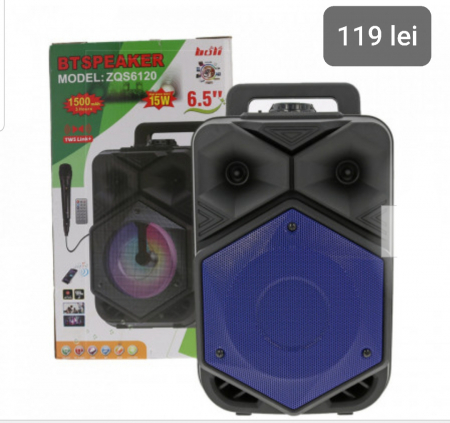 Boxa Portabila BTSPEACKER, Microfon, Telecomanda, Bluetooth, USB, TF-Card, FM, ZQS6120-BLUE [0]