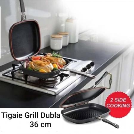 Tigaie doubletta teflonata tip grill, Original Dessini 36 cm [5]