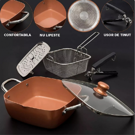 Tigaie Friteuza Multifunctionala Copper Pan8