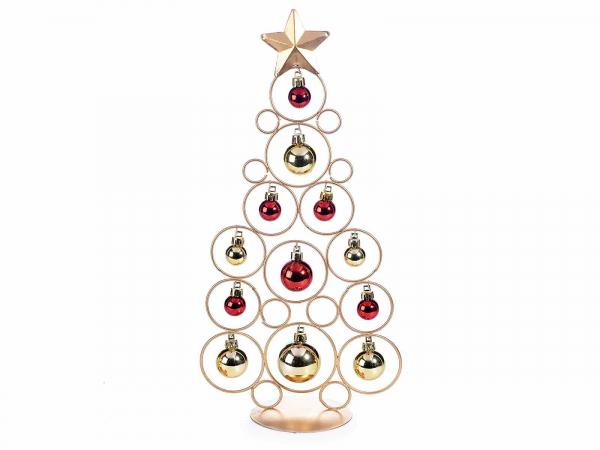 Brad de Crăciun din metal auriu cu 12 globulețe 0