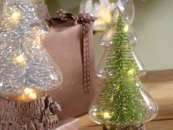 Brazi de Crăciun din sticlă cu lumină LED 2