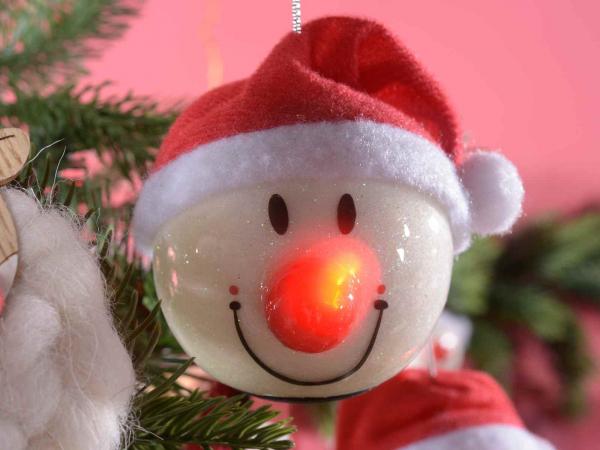 Glob în formă de om de zăpadă, cu pălărie și nas strălucitor [3]