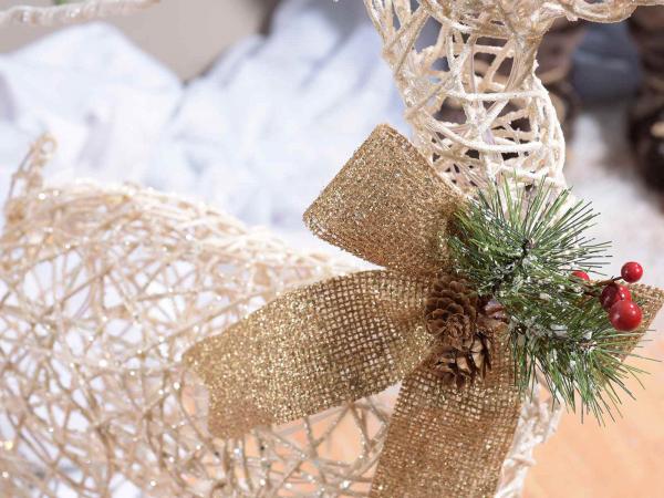 Ren de Crăciun decorativ, cu sclipici și lumini LED 2
