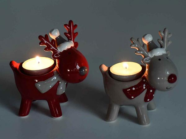Decorațiune ren pentru lumânare, din ceramică 0