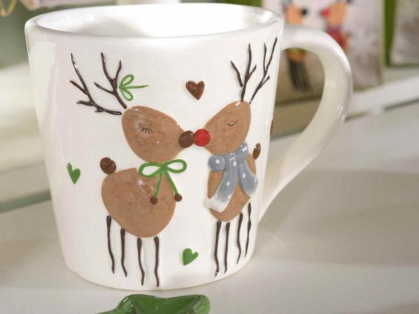 Cană de Crăciun cu decor în relief, din ceramică [1]