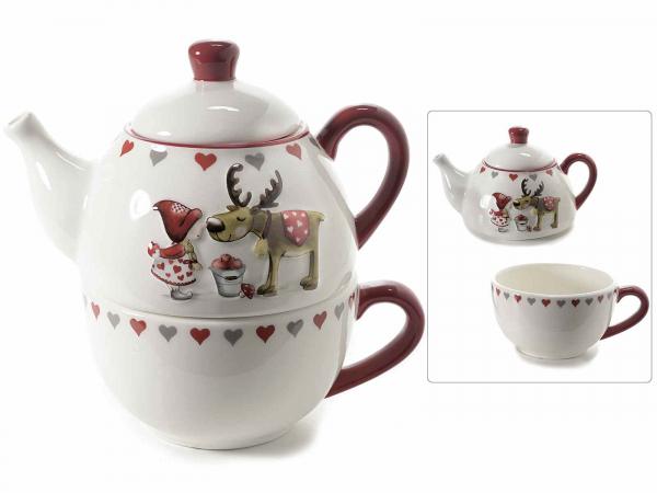 Ceainic ceramic cu ceașcă, cu model în relief, pentru Crăciun 0