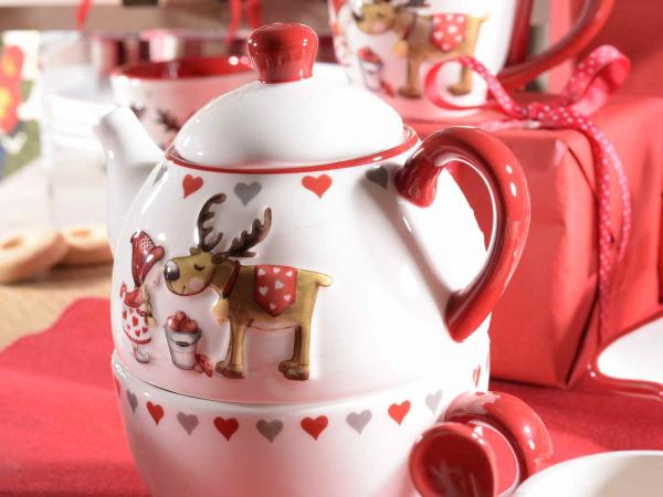 Ceainic ceramic cu ceașcă, cu model în relief, pentru Crăciun 1