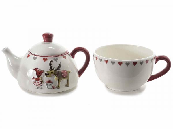 Ceainic ceramic cu ceașcă, cu model în relief, pentru Crăciun 2