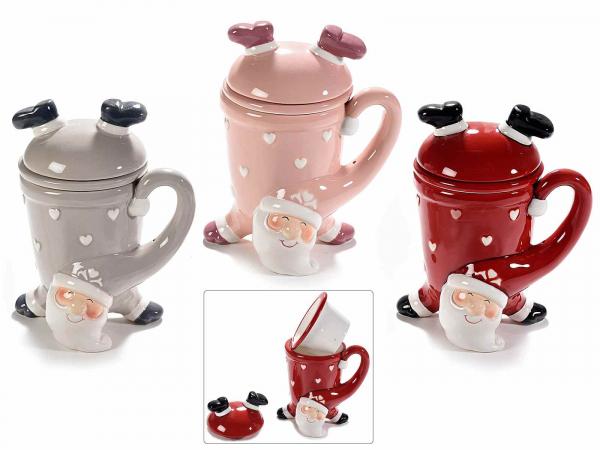 Cupe ceramice cu filtru și capac, model Moș Crăciun 0