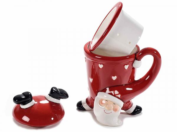 Cupe ceramice cu filtru și capac, model Moș Crăciun 2