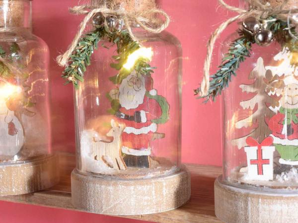 Decorațiune de Crăciun tip borcan cu lumini LED 2