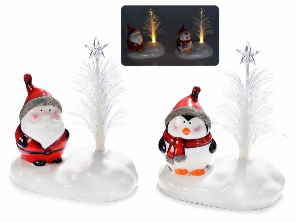 Decorațiune de Crăciun din ceramică cu fibră optică și LED 1