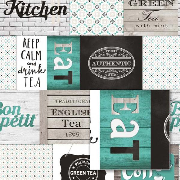 Tapet modern de bucătărie cu verde 0