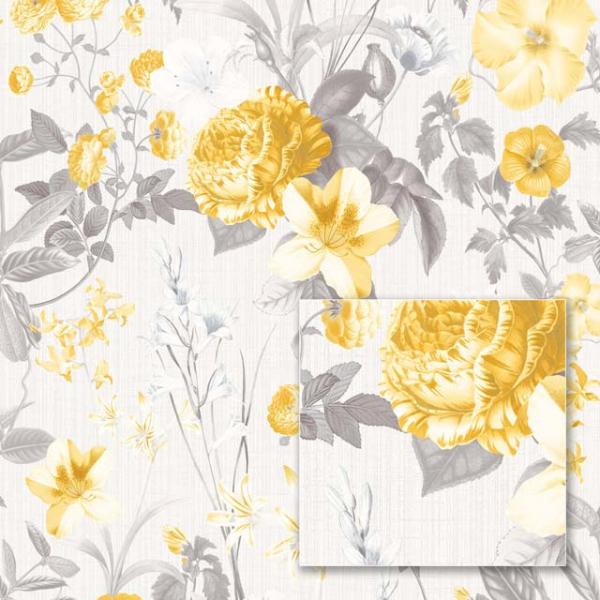Tapet modern cu flori galbene 0