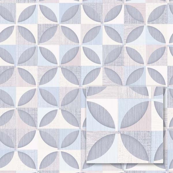 Tapet modern cu model geometric albastru și gri 0