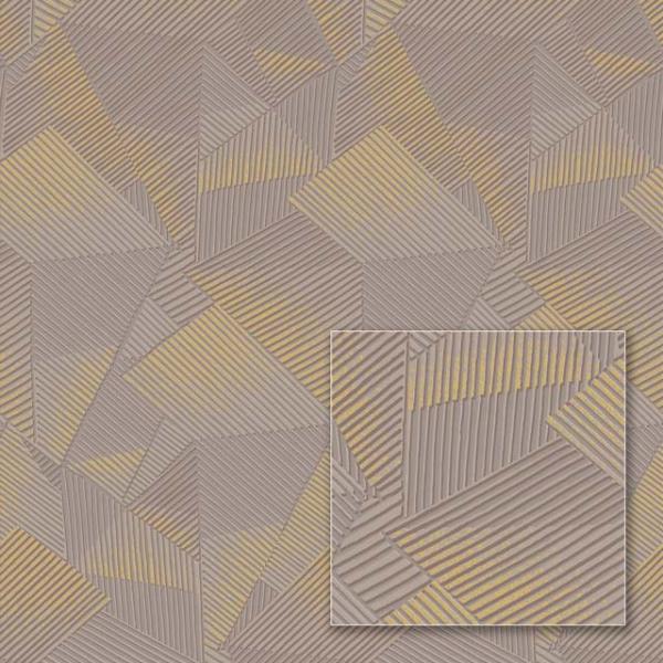 Tapet modern cu model geometric gri și auriu 0