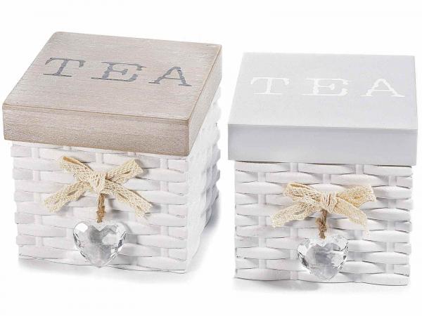 Cutii din lemn pentru ceai, cu inimioară decorativă 0