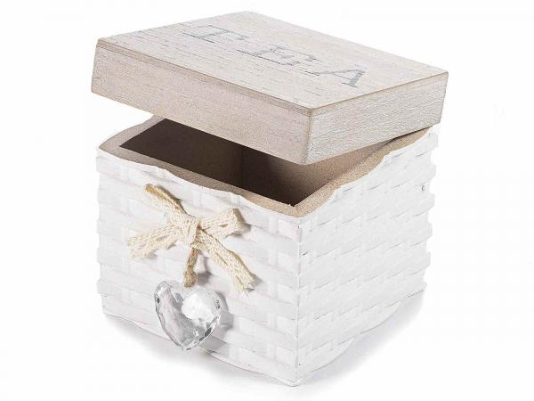 Cutii din lemn pentru ceai, cu inimioară decorativă 2