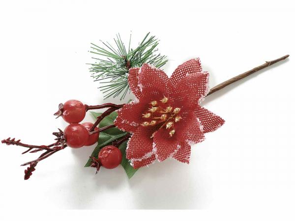Floare artificială de Crăciun cu stele și bobițe roșii 0