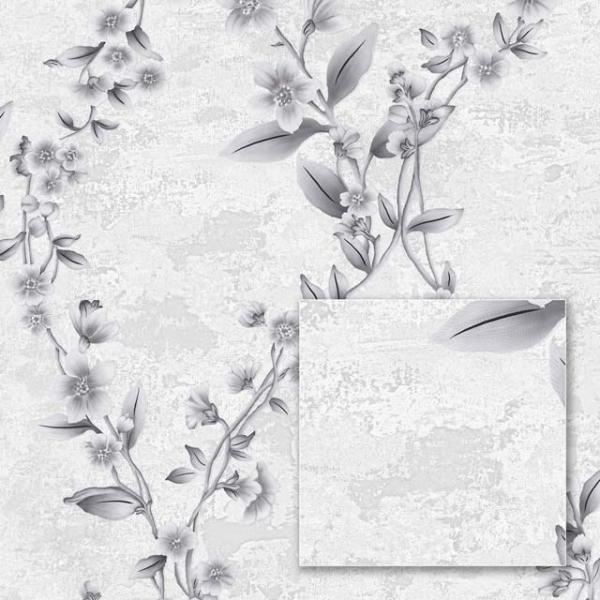 Tapet modern cu model floral gri [0]
