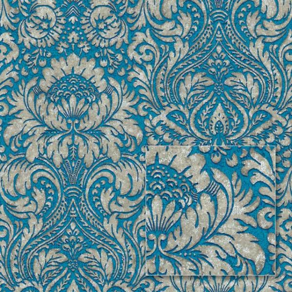 Tapet modern albastru în stil barok 0