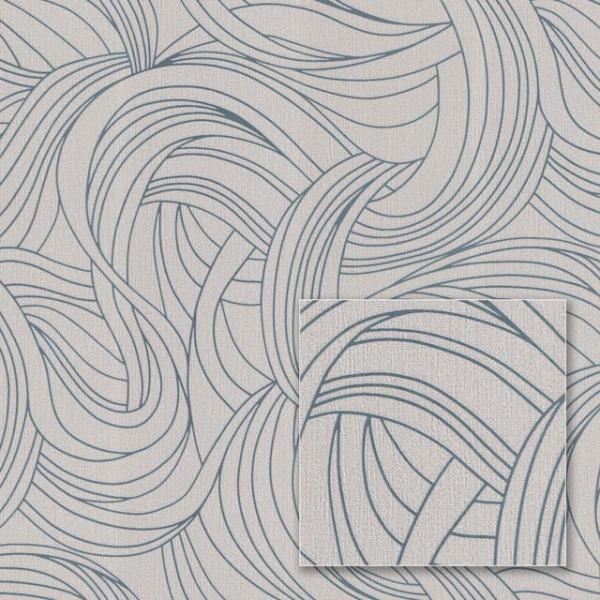 Tapet modern cu model geometric gri și albastru 0