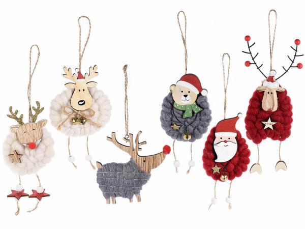 Glob, diverse personaje de Crăciun din lemn și lână 0