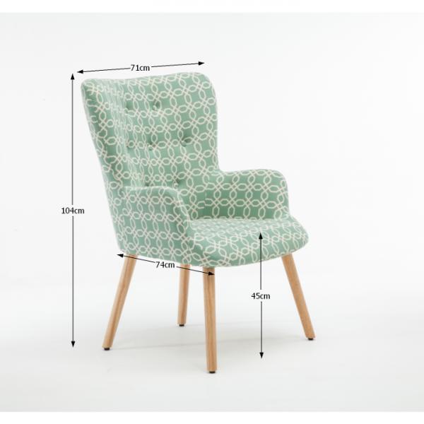 Fotoliu Model Geometric Textil + Lemn Verde 5