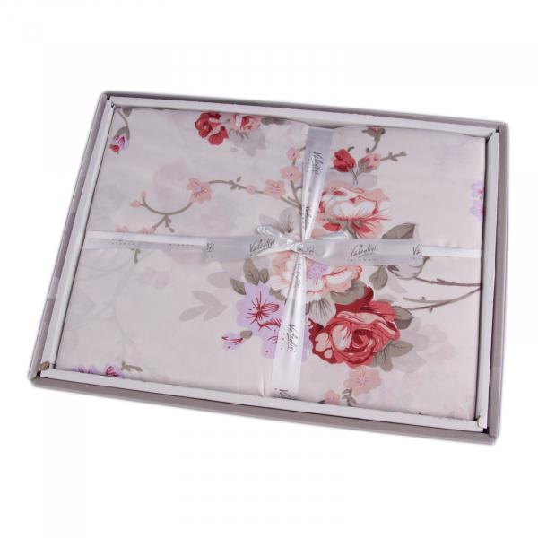 Lenjerie de pat policoton floral alb - 200x220 cm 1