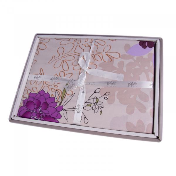 Lenjerie de pat policoton model floral mov si bej - 200X220 cm [1]