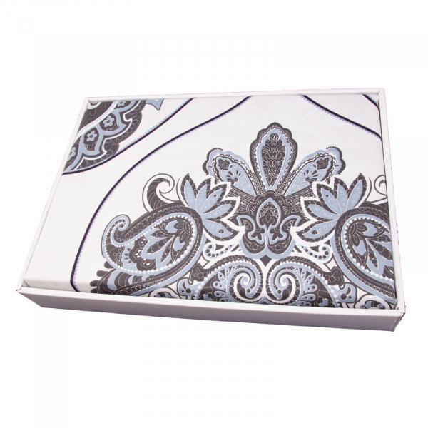 Lenjerie de pat policoton barok crem cu indigo - 200x230 cm 1