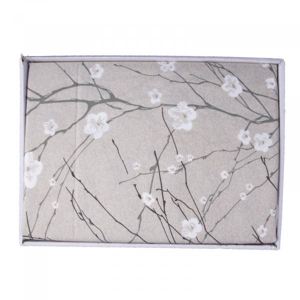 Lenjerie de pat policoton floral crem-verzui - 200x230 cm 1