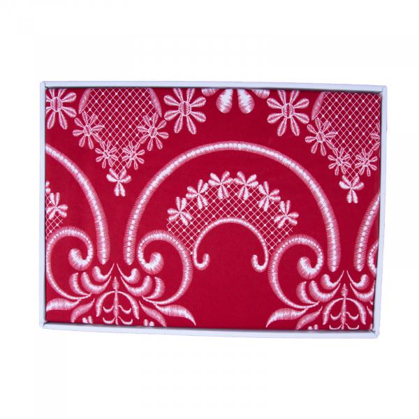 Lenjerie de pat policoton floral rosu - 200x230 cm 2