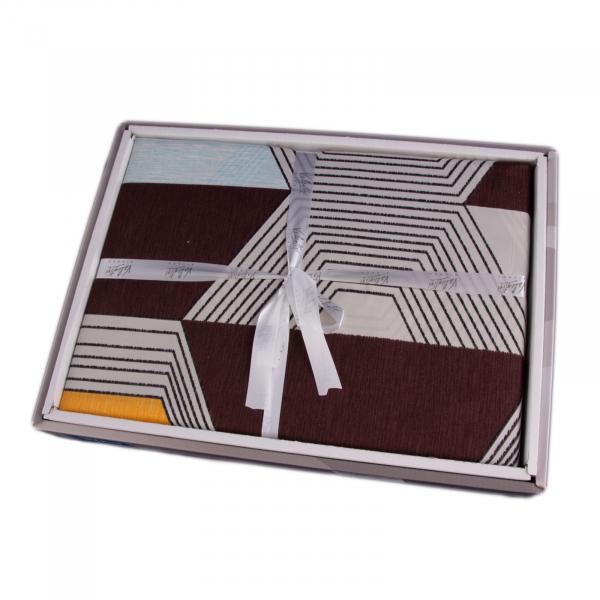 Lenjerie de pat policoton model geometric maro si portocaliu - 200X220 CM 1
