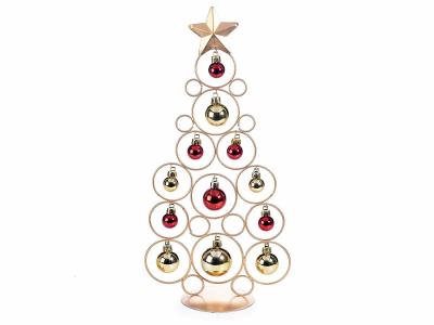 Brad de Crăciun din metal auriu cu 12 globulețe0