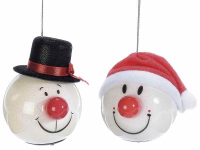 Glob în formă de om de zăpadă, cu pălărie și nas strălucitor [0]