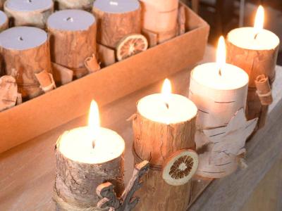 Lumânări cu efect de scoarță de copac0
