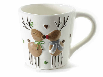 Cană de Crăciun cu decor în relief, din ceramică [0]