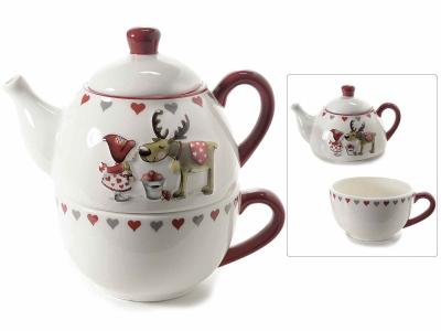 Ceainic ceramic cu ceașcă, cu model în relief, pentru Crăciun0