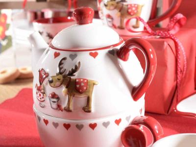 Ceainic ceramic cu ceașcă, cu model în relief, pentru Crăciun1