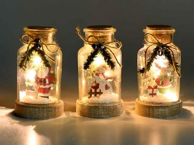 Decorațiune de Crăciun tip borcan cu lumini LED0