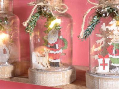 Decorațiune de Crăciun tip borcan cu lumini LED2