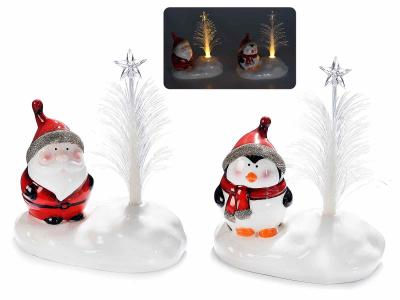 Decorațiune de Crăciun din ceramică cu fibră optică și LED1