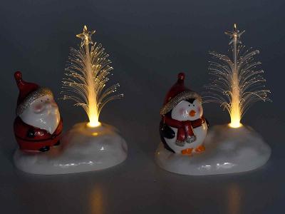 Decorațiune de Crăciun din ceramică cu fibră optică și LED0