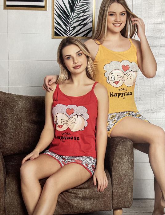 Pijama Dama, Roșie, din Bumbac cu Lycra [0]