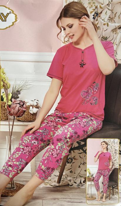 Pijama Dama, Ciclam, din Bumbac cu Lycra [0]