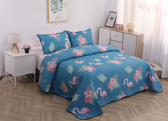 Cuvertura de Pat, 3 Piese, Albastra cu Flamingo [0]