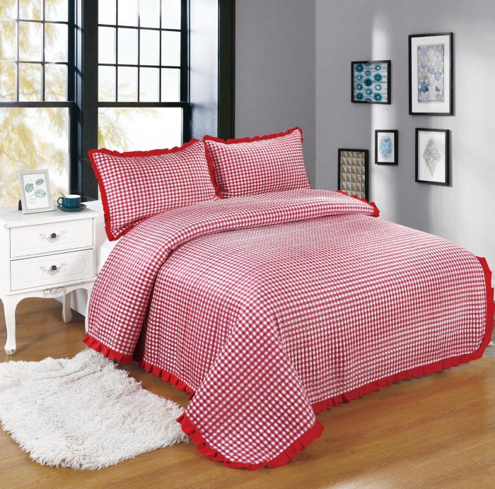 Cuvertura de pat, Catifea, 3 Piese, Cu Pătrate Roșii/Albe [0]
